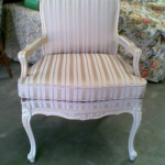 Louie Chair restored in Warwick fabric. Piped custom made cushion included in project