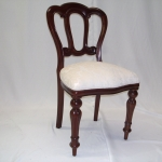 Classical dining chairs restored with a Chenille cream fabric