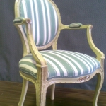 Louie chair upholstered in comtemporary striped fabric