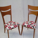 Italian Design Dining Chairs recently restored in a Charles Parsons fabric
