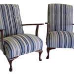 Retro chairs restored and repolished in a Warwick Stripe
