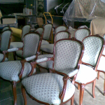 Set of 12 dining chairs done in a Warwick Tivoli fabric