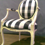 Louie chair restored with a chequered fabric chosen by client